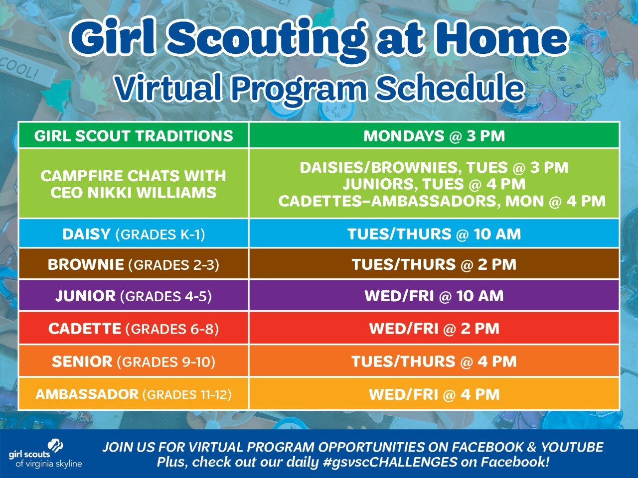 Girl Scouting at Home Schedule Round 2 Original